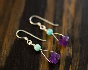 Faceted Amethyst & Amazonite Earrings