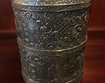 Stunning Rare Barbour Silver Company Art Nouveau Repoussé Silver Plate Tea Caddy with Pressed Glass Insert