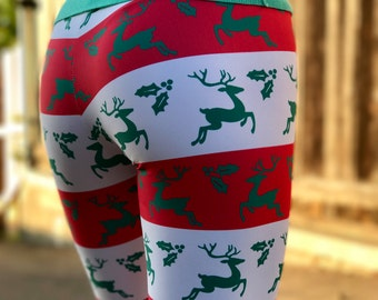 Reindeer Leggings - Rudolph Leggings - Snowflake Pattern Leggings - Winter Leggings - Christmas Leggings - Christmas Gift - Holly Leggings