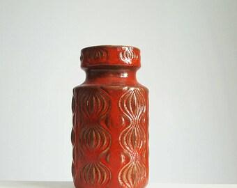 Scheurich red Amsterdam vase / Onion vase / West German pottery fat lava vase 285-15