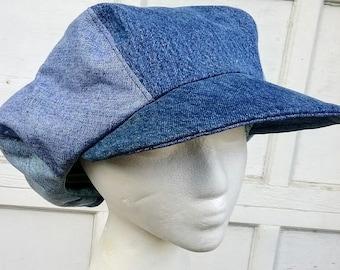 Denim Newsboy Hat Etsy