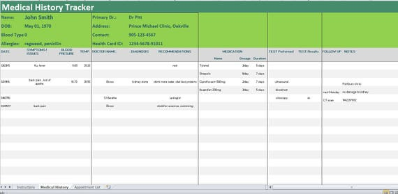 Medical History Tracker Excel TemplateSymptoms DiaryMedical