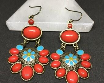 Ruby Red Turquoise Flower Bohemian Dangle Earings