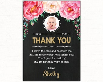 Floral Birthday Thank You Card. Pink and Gold Flower First Birthday Chalkboard. Floral Baby Shower. Boho Glitter Custom Thank You Notes FLO1