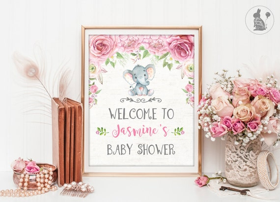elephant baby shower welcome sign jungle baby shower printable pink roses floral baby photo. Black Bedroom Furniture Sets. Home Design Ideas