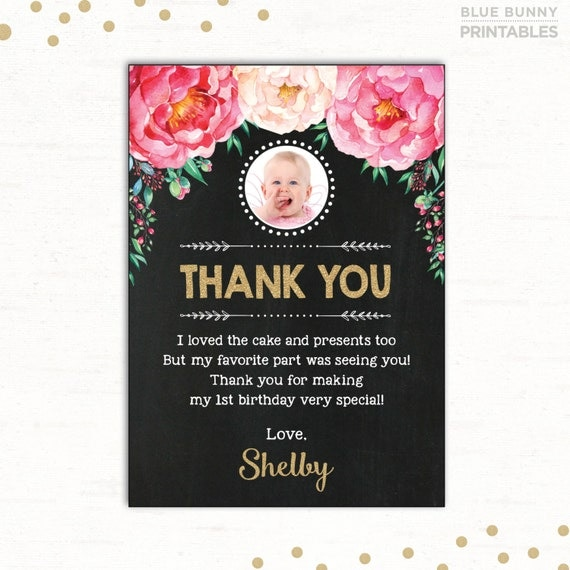Floral Birthday Thank You Card Pink And Gold Flower First Birthday