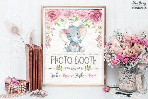 Baby Shower Decor Printables ~ Floral elephant photo booth sign. pink roses photo booth prop. baby
