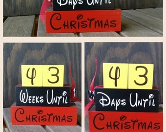 Christmas Countdown Blocks Reversible/Countdown to Chitsmas reverses to count down to Disney/Days Until Weeks until /Hand Painted/Mickey