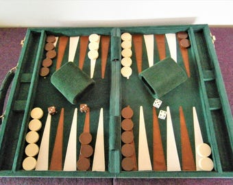 Board Game Backgammon Travel Vintage Cloth Green Corduroy Leather Mid-Century Modern Stones Cups dice