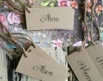 25 x  Rustic Bombonniere Tags / Flat Placecards