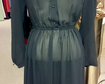 Vintage Sheer Black Dress with Black Pearl Collar and Buttons