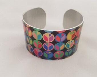 Peace - Aluminum Cuff Bracelet