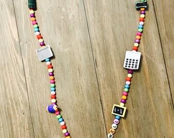 PERSONALISED Lanyard Teacher / Nurse / Beautician / Fashion Necklace USB ID Key Holder