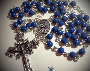 Deep Sky Blue Czech Glass Five Decade Rosary, And Bag, Catholic, Prayer