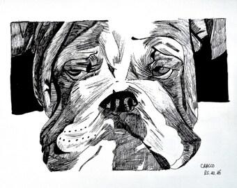 LAZY DOG (animal black ink illustration, print)
