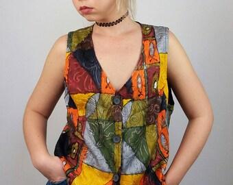 Vintage 70's Boho Chic Festival Art Print Vest Top