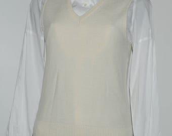 Vintage ecru honeycomb mesh sleeveless sweater Size 36 FR