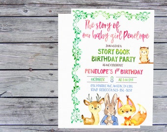 Storybook Birthday Invitations for girl, Once upon a time invitations, Storybook Party, Girl First Birthday Invitation, Storybook invites,