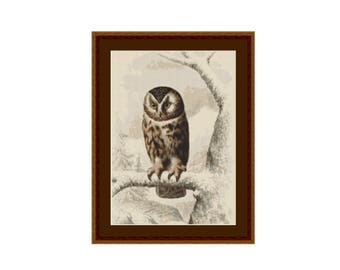 Boreal Owl Cross Stitch Pattern, Edouard Travies, Instant Download Counted Cross Stitch Chart  (P-494)