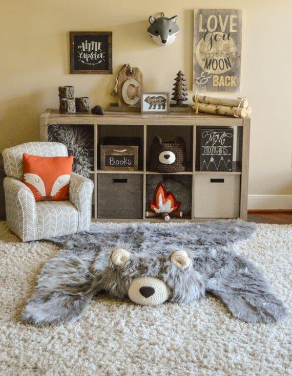 Nursery Rug Gray Bear Rug Camping Room Plush Animal