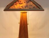 Mappa Burl Veneer Lamp Shade with Arts and Craft Cherry Base