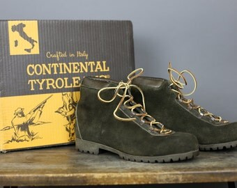 70s  HIKING BOOTS Dunham's Tyrolean Men's 8 1/2 Women's 9 with original box