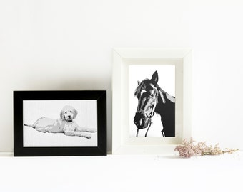 Custom Pet Portrait - 3X5 inch - Black and White - Acrylic - Horse Painting - In Memoriam