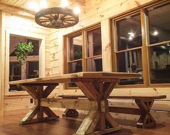 Superb Farmhouse Trestle Table   Classic Rustic Design!