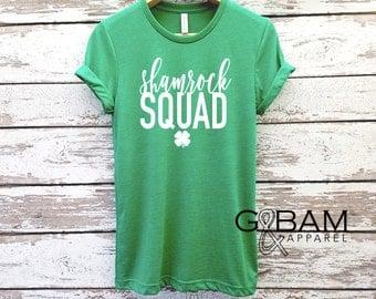 Shamrock Shirt /  SQUAD Boyfriend Tee / St. Patricks day shirt /  Green Shirt