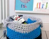 Crochet Storage Basket, toy basket, nursery decor, modern nursery storage, toy bin, fabric storage basket, laundry basket, blue and grey