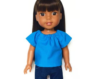 Peasant Top, Blue, 14.5 inch, Fits dolls such as AG Wellie Wishers Doll Clothes, Free Mini Skirt with the Purchase of 3 WW Peasant Tops