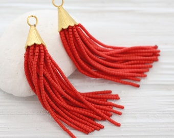 Red short beaded tassel, earrings tassel, jewelry tassels, boho tassel, bead tassel, decorative tassels, tribal tassel, necklace tassel, N20