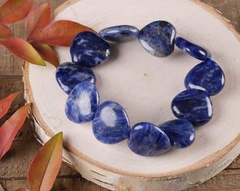 SODALITE Heart Bracelet - Stretch Bracelet, Heart Shaped Beads, Heart Beads, Sodalite Jewelry, Sodalite Beads, Tumbled Stones E0368