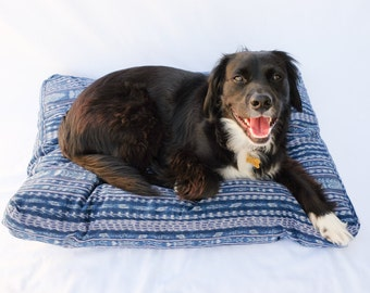 Ikat Dog Bed // Medium // Bohemian pet bed mudcloth shibori pillow