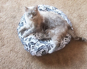 Round Pet Bed, Extra Small Dog Bed, Small Cat Bed, Overstuffed Pet Bed, Gift for Dog, Gift for Cat
