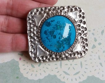 Vintage 1900s Arts and Crafts Hammered Sterling Silver Ruskin Brooch - Large statement piece -  Edwardian pin