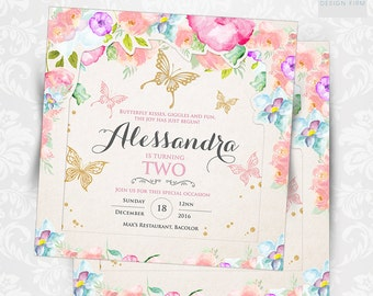 Flowers & Butterfly Baptismal Invitation