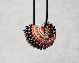 Beaded Spiral Bronze-black, red, gold, round, minimalist, sterling silver chain