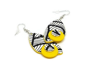 Yellow earrings dangle, Yellow jewelry, Abstract earrings drop, Statement earrings long, Earrings yellow, Black white yellow, Modern earring