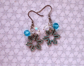 Snowflakes earrings Sky blue and white crystal beads earrings Winter earrings Xmas jewelry Winter holiday gift Hypoallergenic