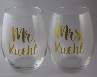 Set of Two, Mr And Mrs Gift, Stemless Wine Glass, Mr And Mrs Stemless Wine Glasses, Wedding Glasses, Mr And Mrs Wine Glasses, Wine Glass Set