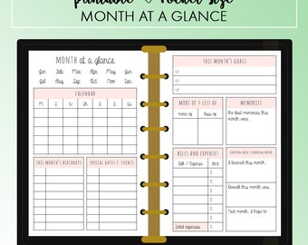 POCKET Month at a Glance Planner Insert Printable | Fits Kikki K Small & Filofax Pocket Instant Download