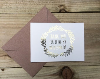 Gold foil thank you card for bridesmaid/ maid of honour/ flower girl/ chief bridesmaid.. silver, gold, rose gold, copper card