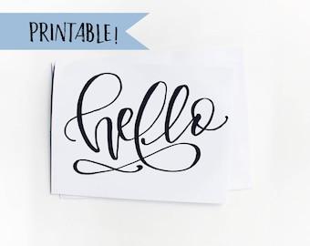 Printable Greeting Card - Hello