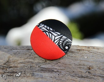 Black White and Red statement ring – Red Ring - Eye-catching ring – Modern ring – Black and White Ring – Abstract Ring – Birthday Gift