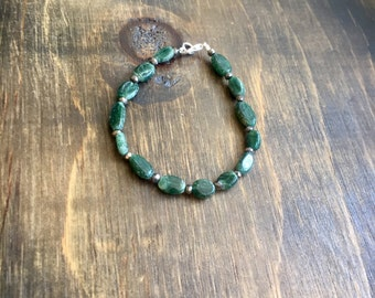 """Aventurine Beaded Necklace 7"""", Silver Plated Clasp"""