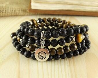 108 Mala Beads Black 108 beads Black mala 108 beads bracelet 108 bracelet Long Wrap bracelet Meditation necklace Stack bracelet Yoga gifts