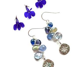 Labradorite, Tanzanite, Kyanite, Mystic Quartz and Iolite Earrings--Iolite Earrings--LabradoriteEarrings--Tanzanite Earrings