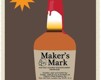 Maker's Mark Bourbon from Kentucky Illustrated Downloadable Print