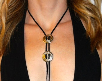 Western Bolo Tie Necklace | Black Suede Bolo Necklace | Boho Necklace | The Sandy Vine